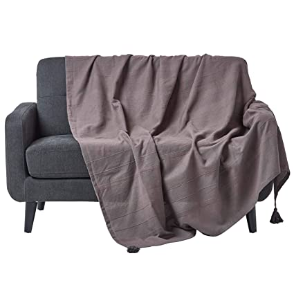 Homescapes Rajput Colcha para cama o sofá, 100% algodón, color gris, algodón, 225x255cm