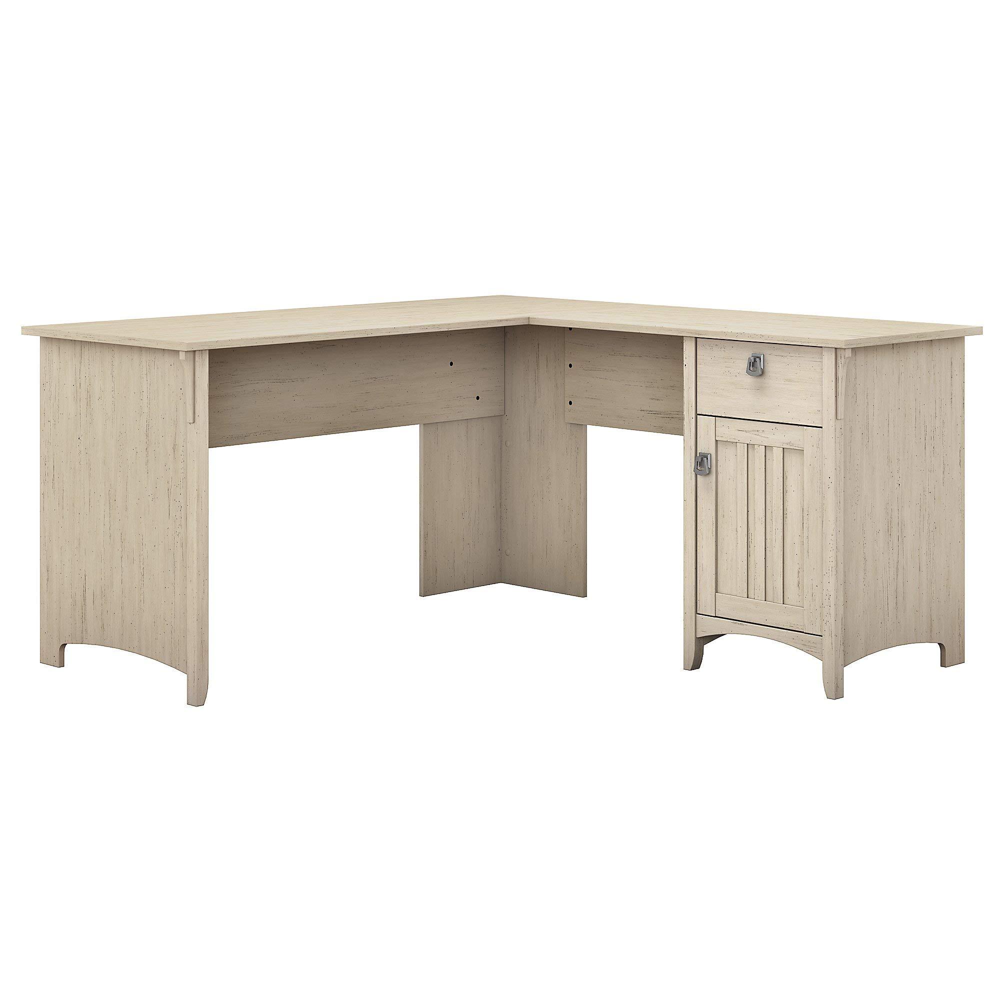 Bush Furniture Salinas L Shaped Desk with Storage in Antique White by Bush Furniture