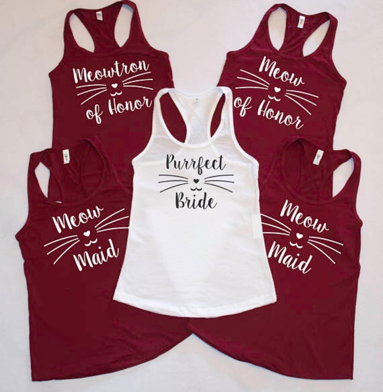 Purrfect Bride - Meow Maid - Meow of Honor racerback tank top! With cat face and whiskers Cat lovers wedding! Bridal party shirts - Wedding
