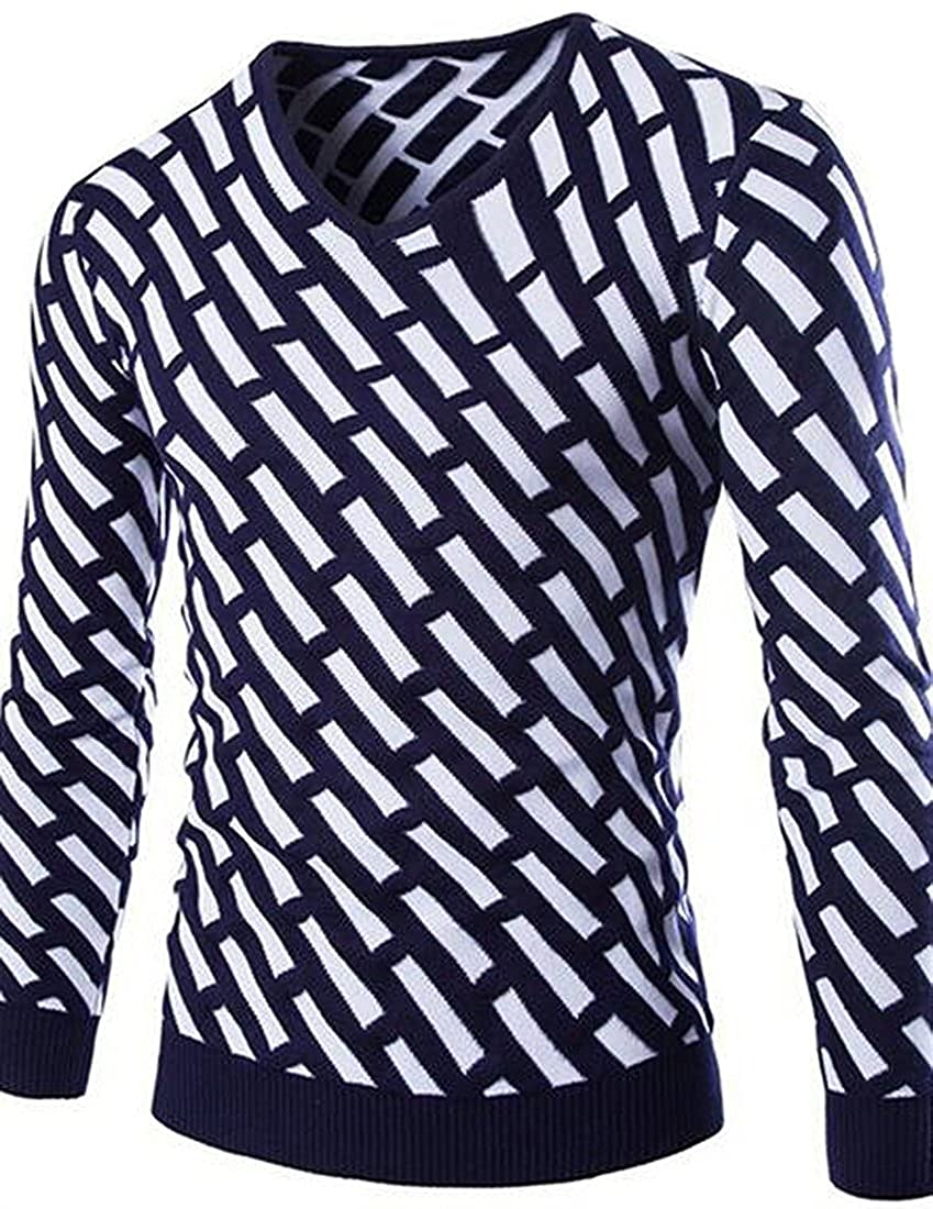 Wilton Marti Fashion Mens Trendy Long Sleeve V-Neck Pullover Sweater