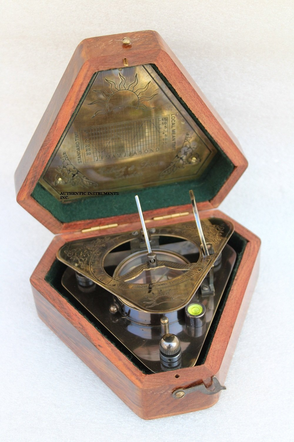 US Handicrafts History Brass Triangle Sundial Compass in Hardwood Box. by US Handicrafts (Image #8)