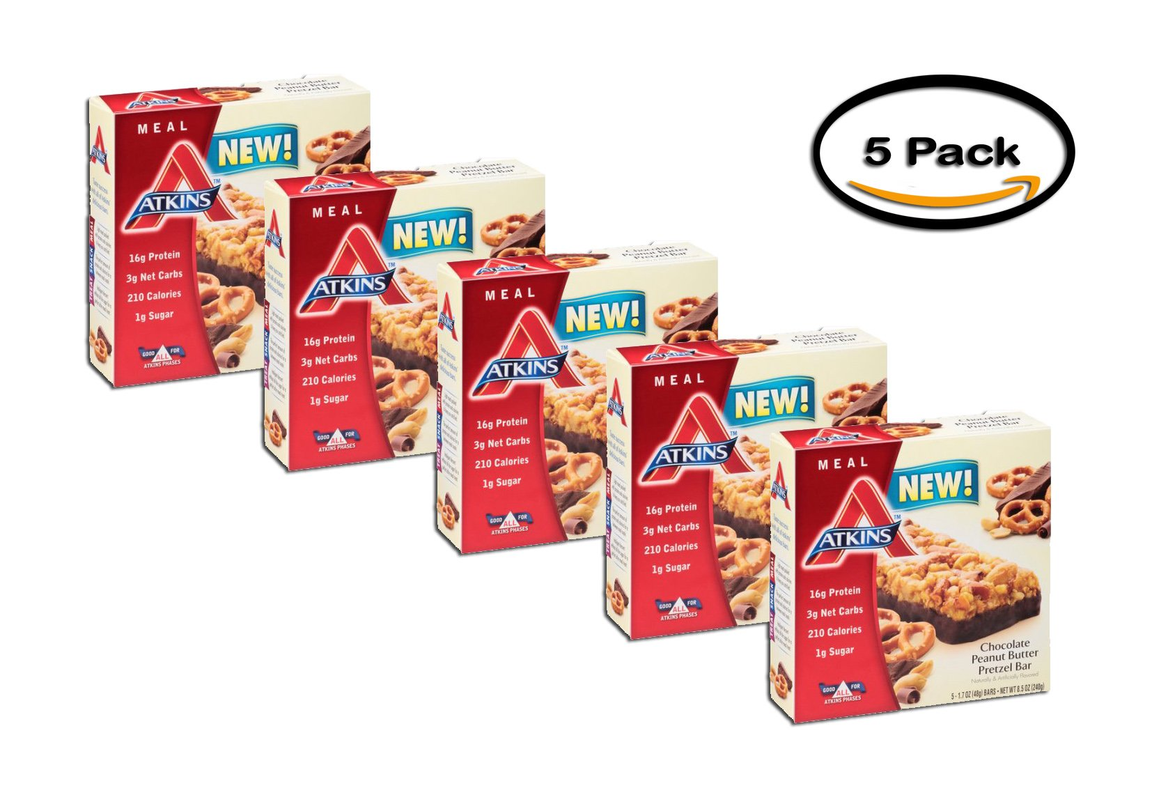 PACK OF 5 - Atkins Chocolate Peanut Butter Pretzel Bar, 1.7oz, 5-pack (Meal Replacement)