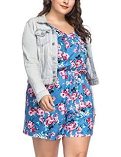 511559ac070 PARTY LADY Womens Plus Size Floral Romper Jumpsuit Summer Sleeveless Short  Rompers(XL-4XL