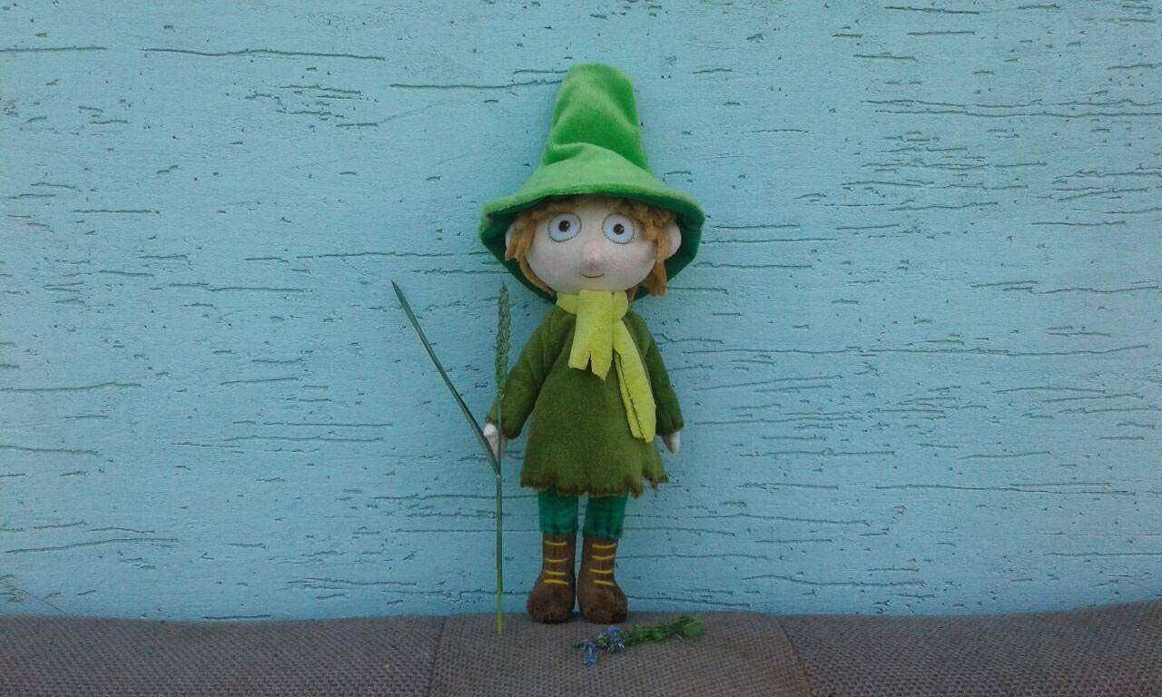 Moomins Plush Soft Toy Snufkin with Green Hat inspired minky 30 cm made to order