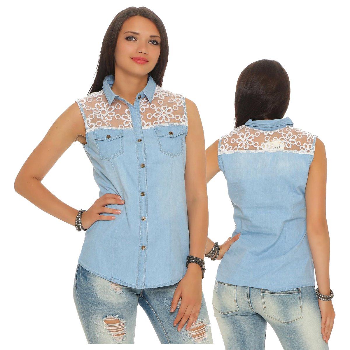 25b8cc7ee41442 Fashion4Young 11231 Damen Jeans Bluse ärmellos Hemdbluse Jeans-Optik Jeans  Bluse Spitze (S=36, blau): Amazon.de: Bekleidung