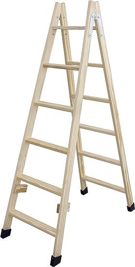 Escalera de tijera de madera con peldaño ancho de 54 mm. Fabricada en pino marítimo sin barnizar. (6 peldaños): Amazon.es: Bricolaje y herramientas