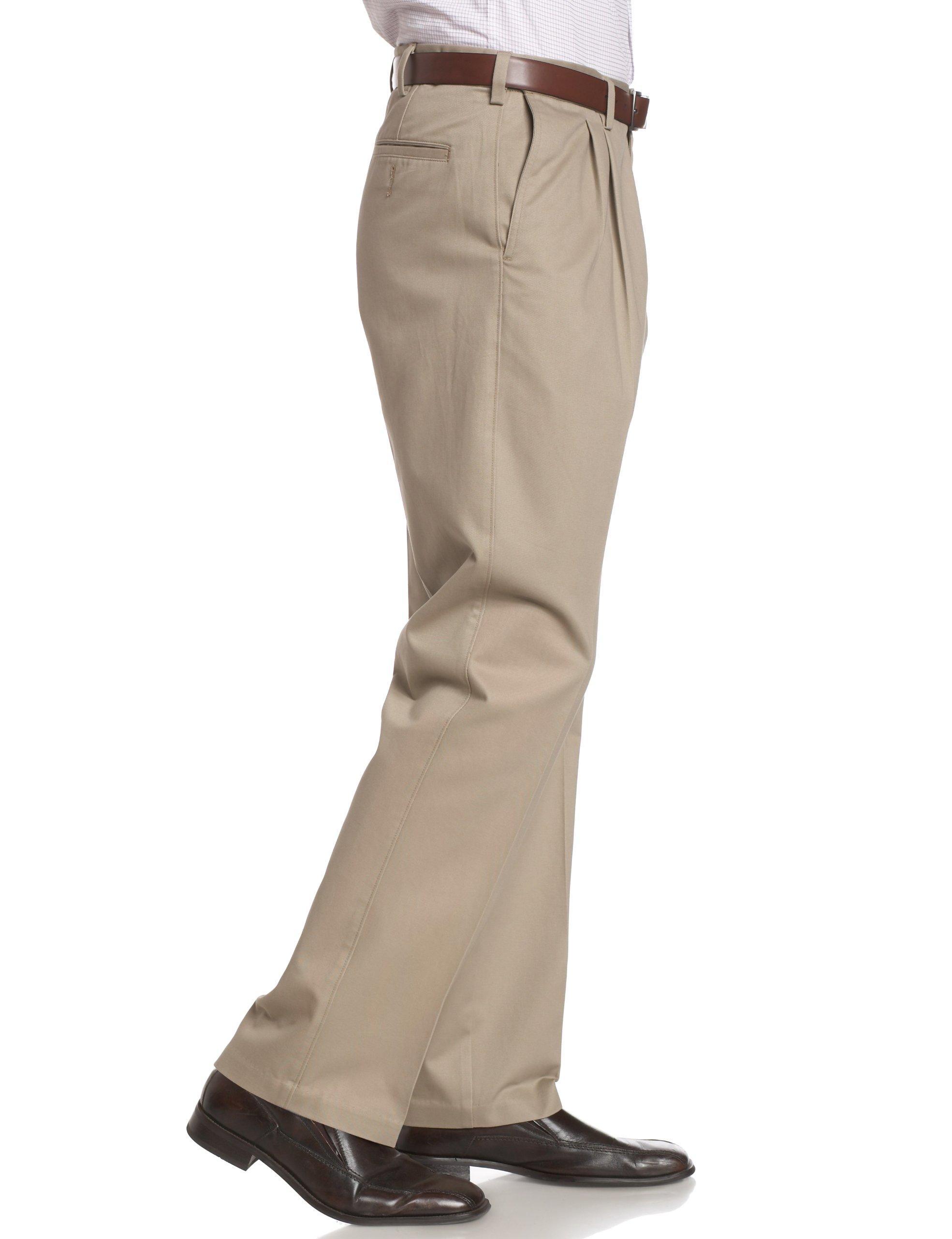 Savane Men's Pleated Wrinkle Free Twill,Khaki,42W 32L by Savane (Image #3)