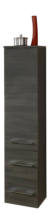 Kesper Badmöbel Midischrank 1 Tür, 2 Schubkästen und 2 Einlegeböden, Schwarz, 31.3 x 30 x 138 cm