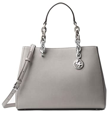 d45dfda0863d ... reduced michael michael kors cynthia medium saffiano leather satchel  pearly grey e744a 385fc