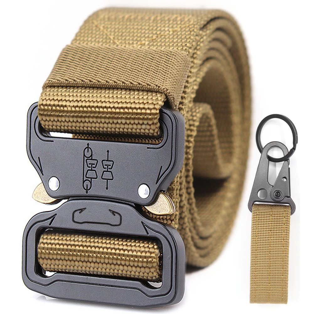 Nylon Webbing Police Duty Tactical Belts Men Military Riggers Molle Women Battle 1.5 Convenient Quickly Unlock Mission Travel Emergency Survival Rappelling outdoor Key Ring Holder(Black) Chessun