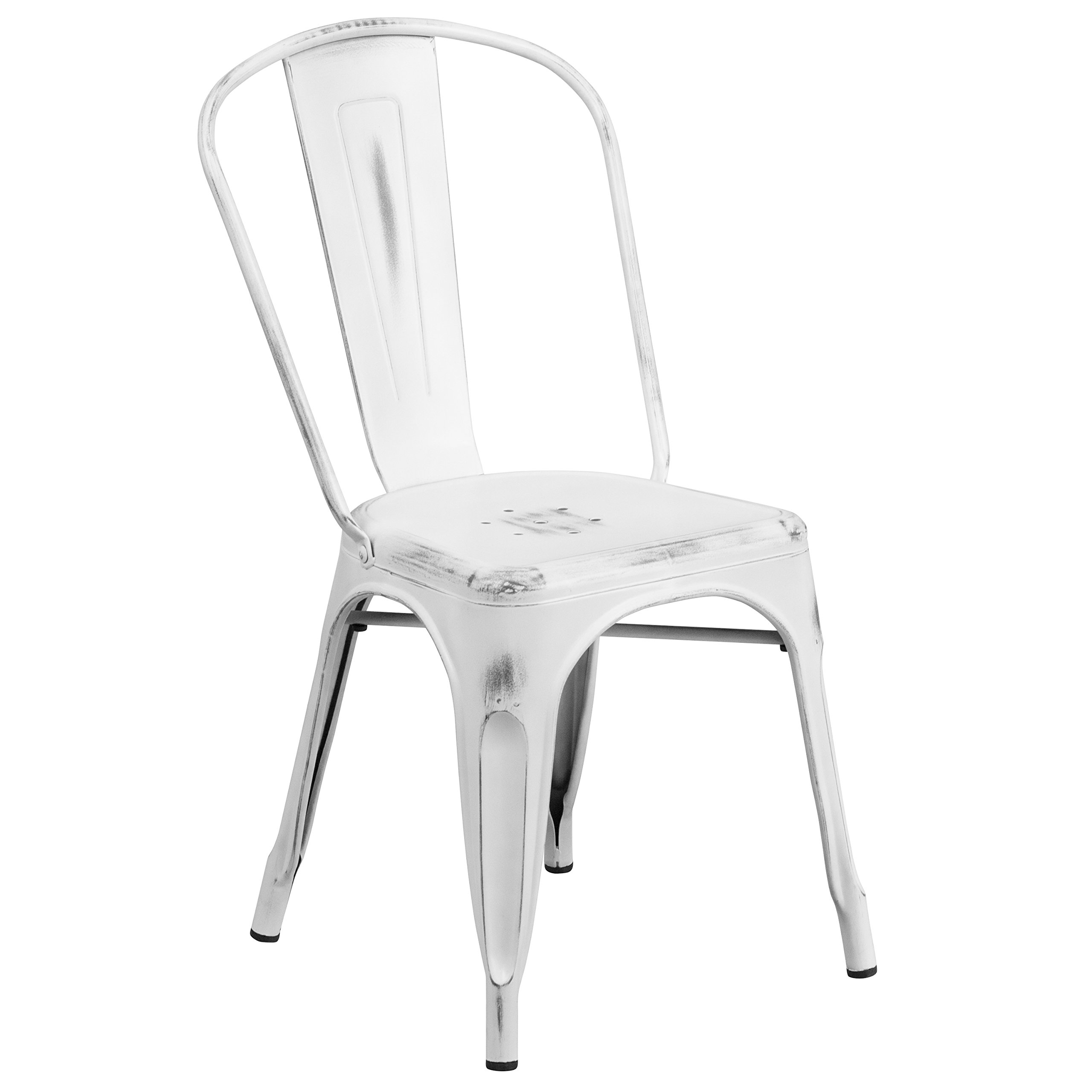 Flash Furniture Distressed White Metal Indoor-Outdoor Stackable Chair by Flash Furniture