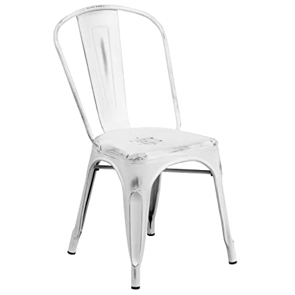 Bon Flash Furniture Distressed White Metal Indoor Outdoor Stackable Chair