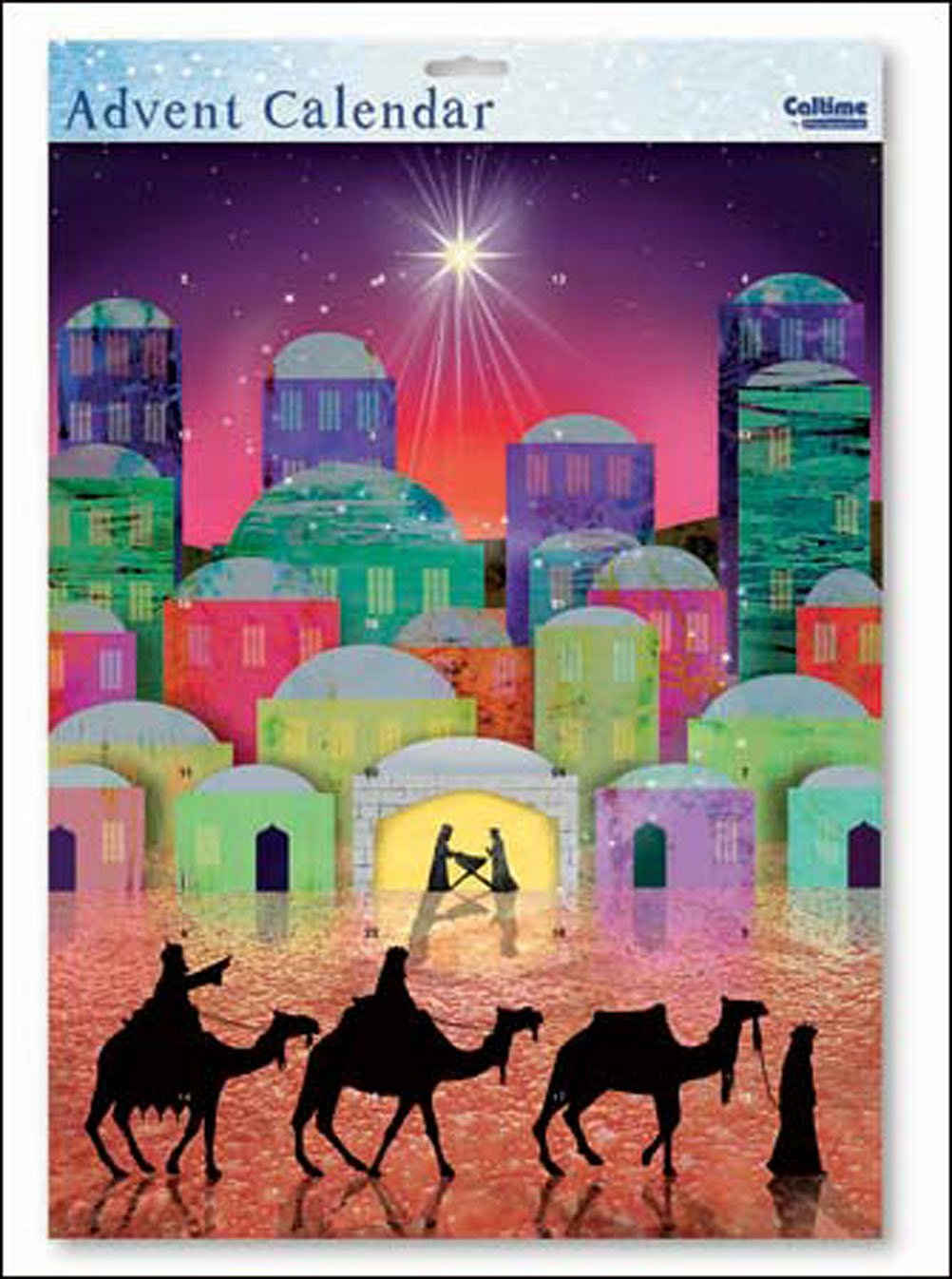We Three Kings Nativity Silhouette large advent calendar with White Envelope 315 x 410 mm woodmanstern