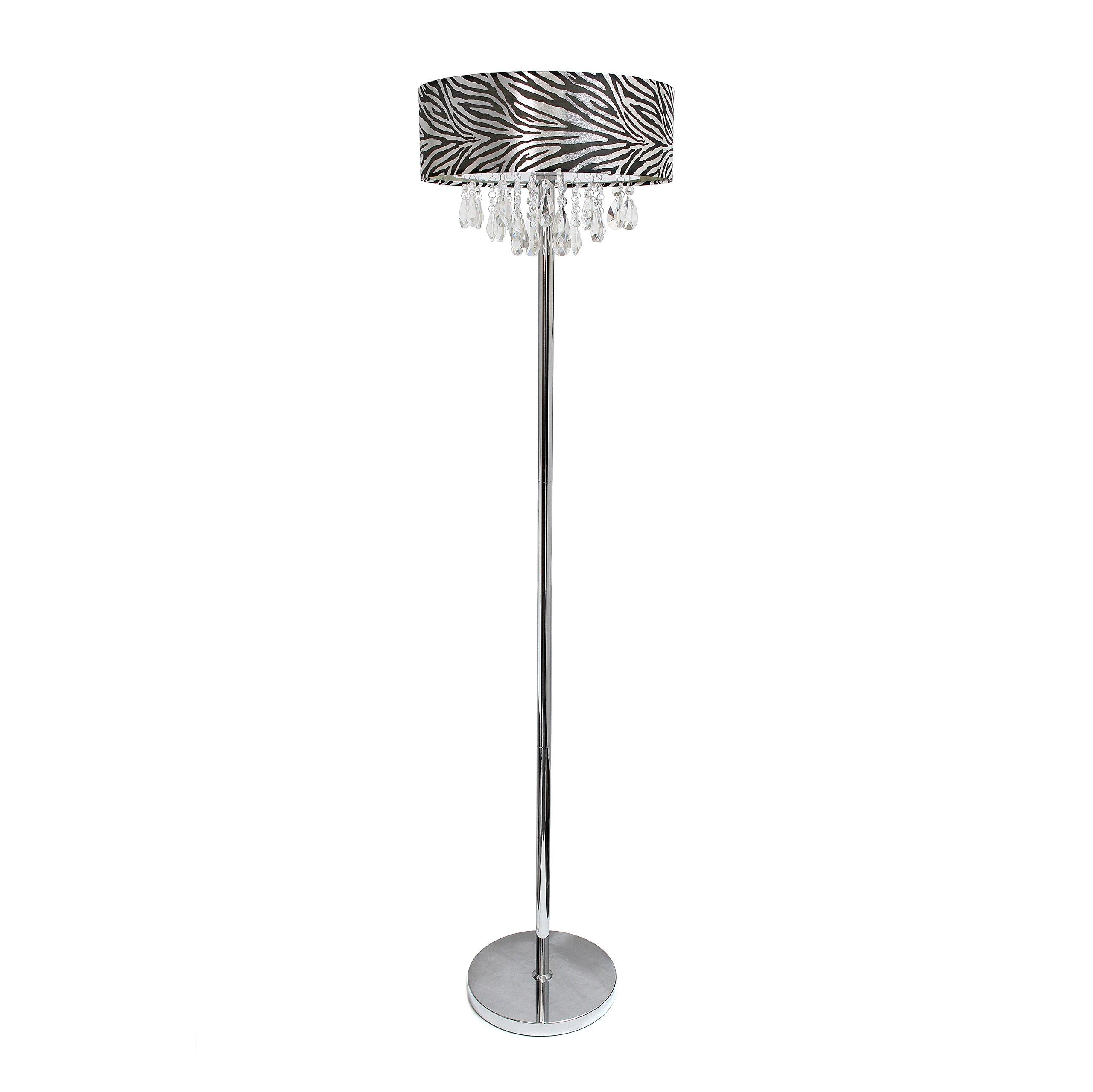 Elegant Designs LF1000-ZBA Romazzino Collection Crystal and Chrome Floor Lamp, Metallic Zebra Print