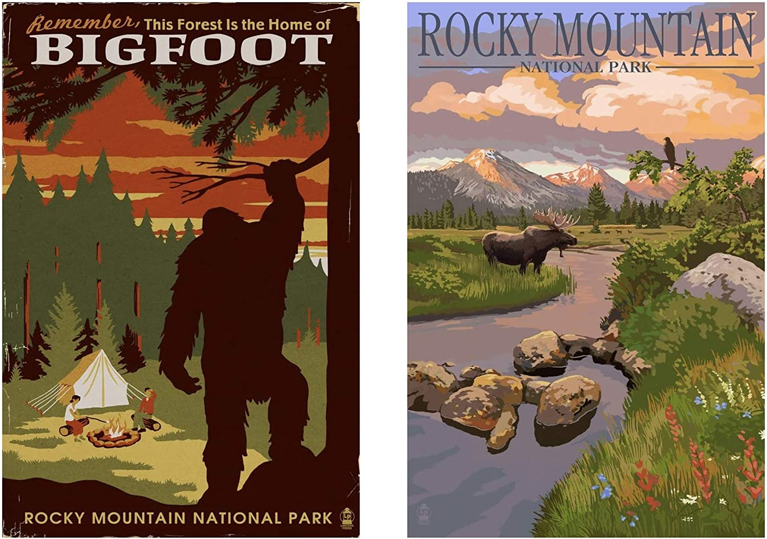 Rocky Mountain National Park Poster Bundle - Home of Bigfoot, Moose and Meadow (Two 9x12 Art Print, Wall Decor Travel Posters)
