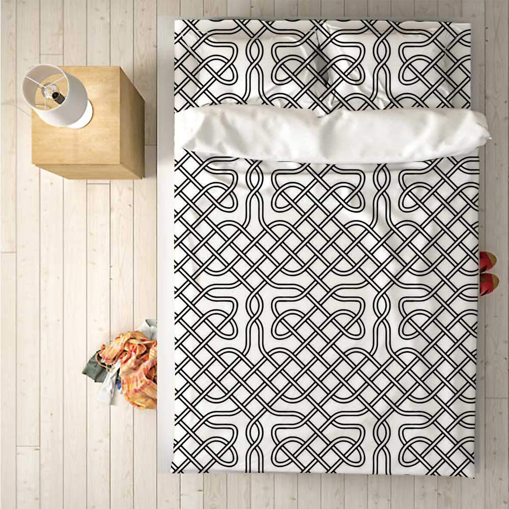 Celtic Decor Soft 4 Piece Bedding Set,Horizontal Knotted Celtic Motif Textured with Heraldic South Scandinavian Graphic Work for Bedroom,One Side Print : Singe
