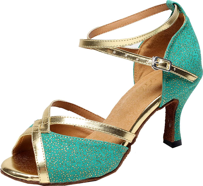 Abby Womens New Fashion Latin Tango Cha-Cha Salsa Party Modern Mid Heel Peep-toe Cloth Professional Dance-shoes