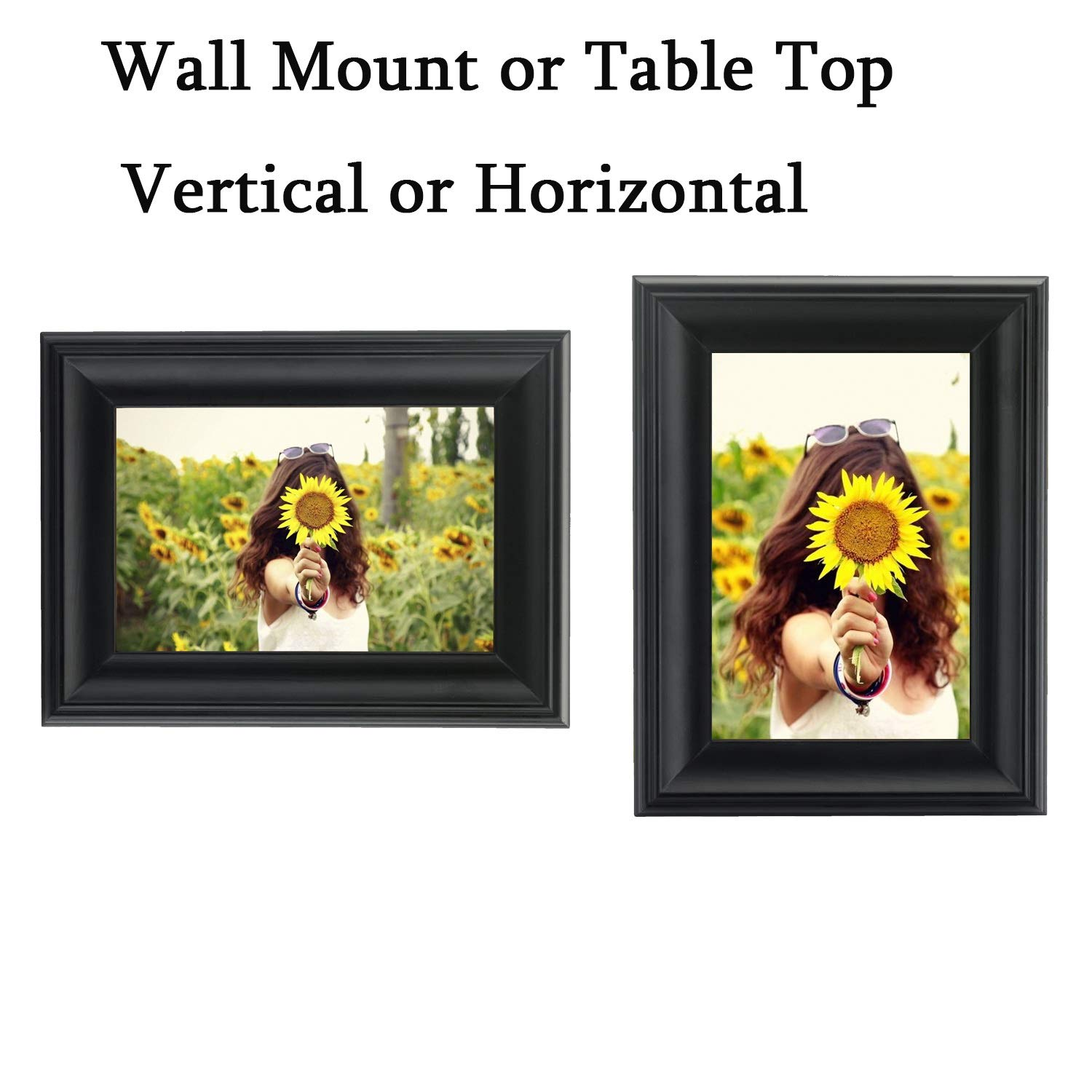 HOMESTY 4x6 Picture Frame Black,Wooden Photo Frame for Table Top Display and Wall mounting Photo Frame Decorative Art Prints /& Hanging Template