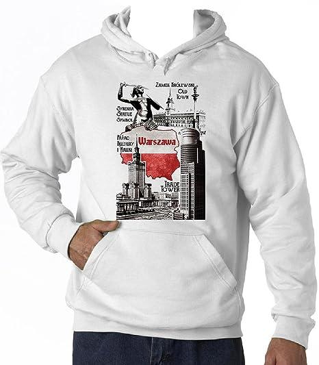 f219f86b35e9 Teesquare1st Men s WARSAW POLAND White Hoodie T-Shirt Size XXLarge ...