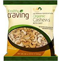 Healthy Craving Organic Cashews, 3lbs I Dry Roasted, Salted, Halves and Pieces, Vegan Snacks, Vegetarian-Friendly, Kosher, Gluten-Free