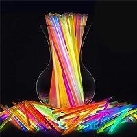 """SHATCHI 100pcs/200pcs/400pcs Glow Sticks 8"""" and Connectors Neon Colours Kit for Bracelets, Rings Necklace Halloween Rave…"""