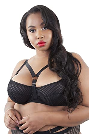 5d121608a9 Gabi Fresh Plus Size Sexy Strappy Harness Bondage Fishnet Bra (36-44 B-G)  Black