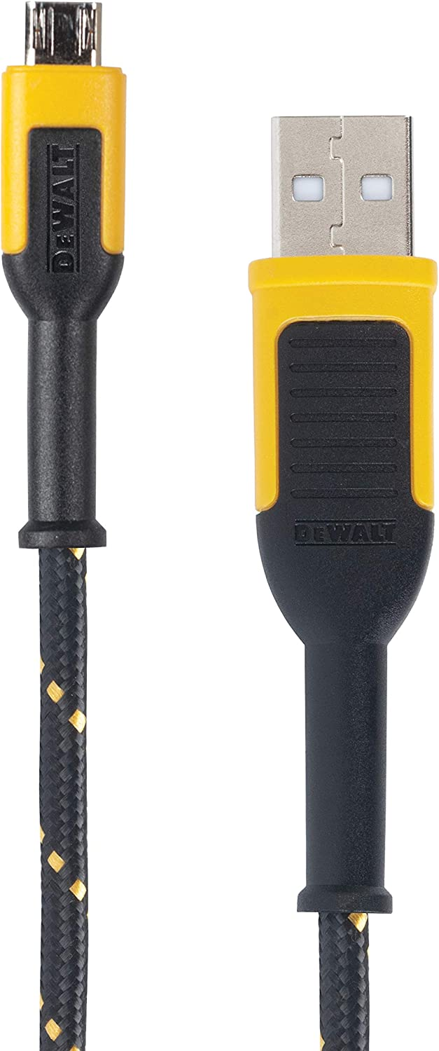 DEWALT Reinforced Braided Cable for Micro-USB, 10 ft.