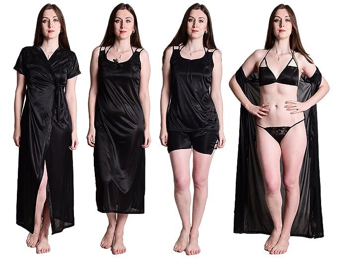 453069f419 Senslife Women s Satin Nightwear Wrap Gown (SL002