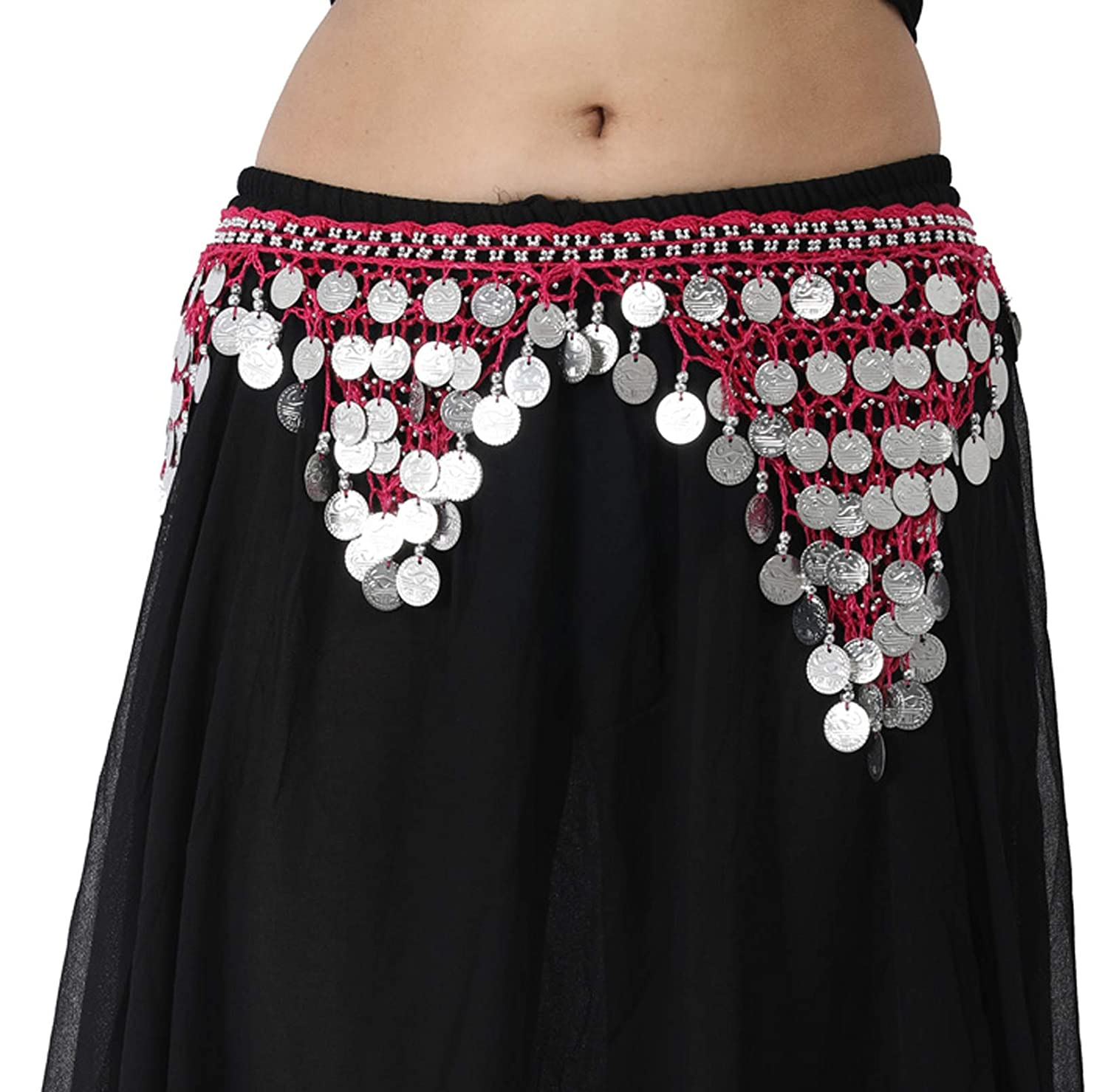 Wevez Classic Belly Dancing Silver Coin Hip Scarves for Gypsy Tribal Belly Dancers