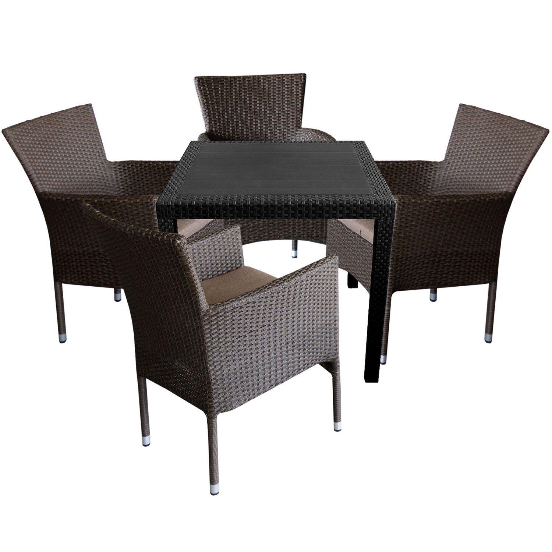 5tlg gartengarnitur gartentisch in rattan optik 79x79cm rattansessel stapelbar. Black Bedroom Furniture Sets. Home Design Ideas