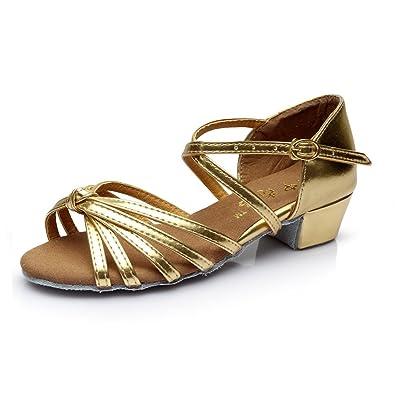 ea3feb8f6 BYLE Leather Sandals Ankle Strap Samba Modern Jazz Dance Shoes Children's  Satin Latin Dance Shoes Girls' Low-Heel Soft Dance Shoes Gold:  Amazon.co.uk: Shoes ...
