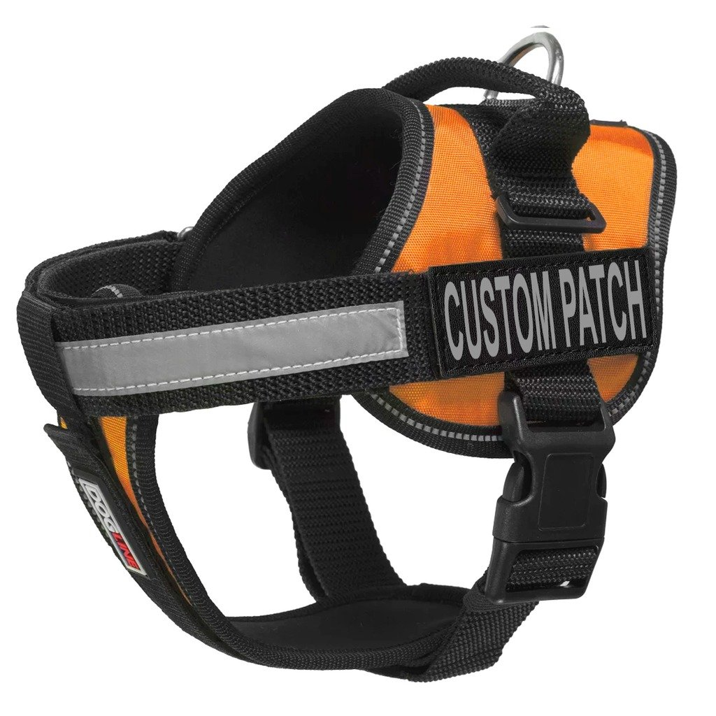 Dogline Unimax Multi-Purpose Vest Harness for Dogs and 2 Removable CUSTOM Patches with white lettering(Orange, Large (28'' - 38''))