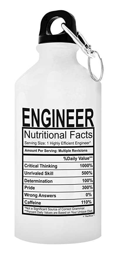 ThisWear Engineer Gifts For Men Water Bottle Nutritional Facts Best Engineers Gift