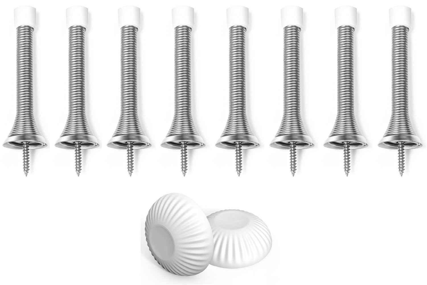 Door Stops for Wall 10 Pc Door Stopper Spring with White Rubber Bumper Protect Your Walls