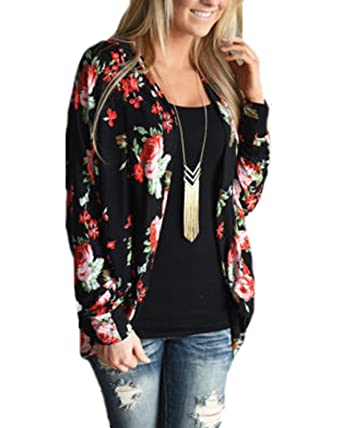 Ruby-Q Women Sexy Casual Floral Print Open Front Long Sleeve Irregular Tops  Shirt Waterfall