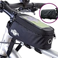 BTR Bicycle Frame Bike Bag & Mobile Phone Holder GEN3 – with Option to add Waterproof Cover To Protect ALL Your Valuables From The Rain – Fits ALL Bikes