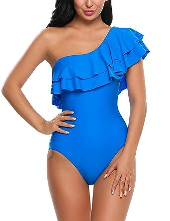 08901f0db8 Avidlove Women's One Piece Swimsuits One Shoulder Swimwear Asymmetric  Ruffle Monokinis Bathing Suits Blue