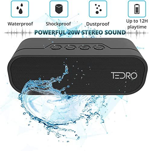TEDRO, Waterproof Portable Bluetooth Speaker, 20w True Stereo L R Speaker, Shockproof with Built-in 4400mAh Power Bank and FM Radio, Micro SD Card, AUX, Deluxe Presentation Box, NX-4017F Black