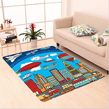 Amazon Com Nalahome Custom Carpet Rtoon Busy City Metropolis With