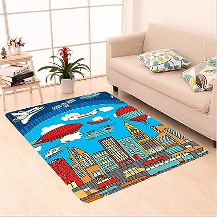 Amazon Com Nalahome Custom Carpet Rtoon Busy City Metropolis With