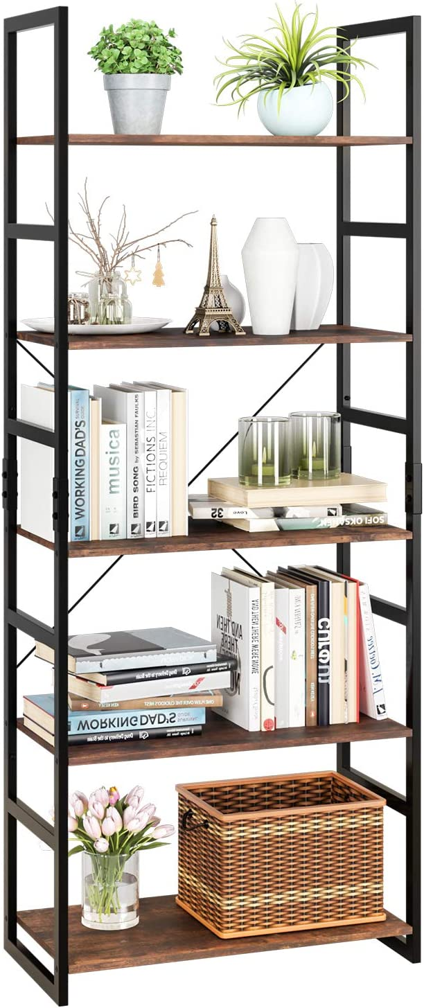 5-Tier Modern Style Bookcase Vintage Free Standing Bookshelf Rustic HOME Bamboo