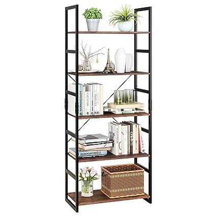 Homfa Bookshelf Rack 5 Tier Vintage Bookcase Shelf Storage Organizer Modern Wood Look Accent Metal Frame