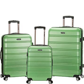 55d03cd1e Amazon.com   Rockland Luggage Melbourne 3-Piece Hardside Spinner Luggage Set  (Green/Grey)   Luggage Sets