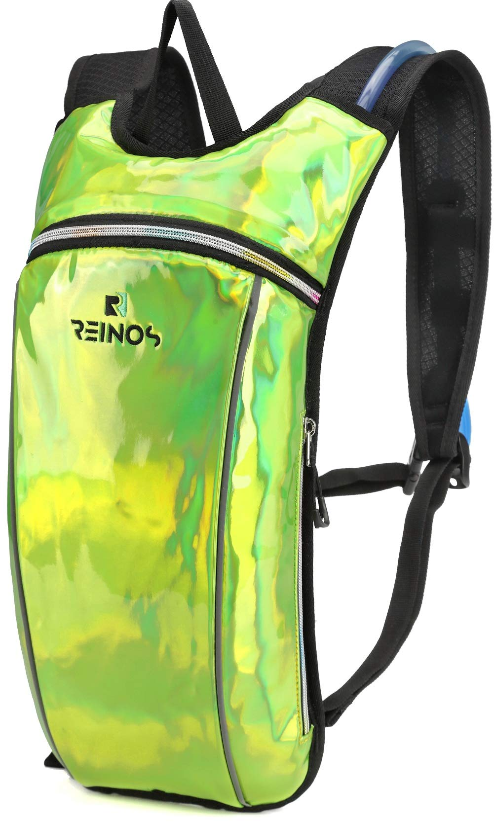 REINOS Hydration Backpack - Light Water Pack - 2L Water Bladder Included for Running, Hiking, Biking, Festivals, Raves (Green)
