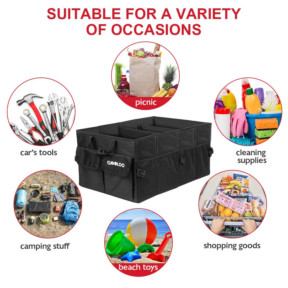 Jeep SUV Minivan Waterproof Bottom for Truck GOOLOO Car Trunk Organizer Auto Cargo Storage Container Multi-compartments Collapsible Durable Box with Straps