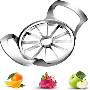 Apple Slicer, Slicer Corer, Apple Cutter 304 Stainless Steel 12-Blade Apple Slicer Upgraded Extra Large Apple Corer, (Divider for Up to 4 Inches Apples Pear White Onion)