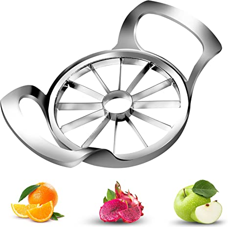 Thoroughly-Cut Blade Design Divider for Up to 4 Inches Apples SAVORLIVING Apple Slicer 12 Sharp Blades Stainless Steel Apple Cutter Pitter