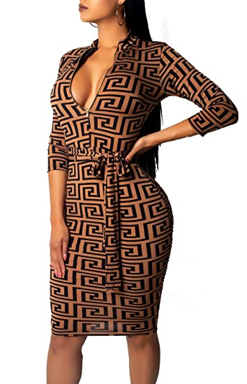 5662f49407be Amazon.com  SxClub Women Bodycon Bussiness Dress Turtleneck Long Sleeves  Elasticity Bandage Pencil Suiting Zipper Front Brown  Clothing
