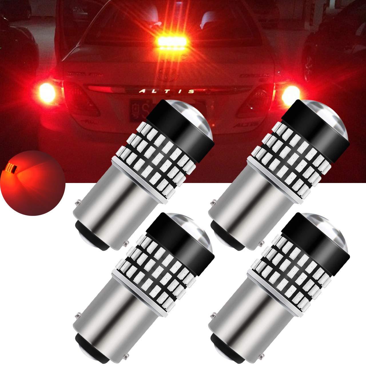 TUINCYN Red 900 Lumens 3157 3156 4057 3457 3057 3057A 3155 Base 3014 78SMD Lens LED Bulbs Turn Signal Tail Reverse Backup Brake LED Light DC 12V-24V 4W(2-Pack) BHBAZUALIn4921