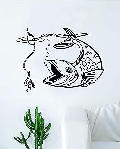 Fish Fishing Wall Decal Sticker Vinyl Art Bedroom Living Room Decor Decoration Teen Quote Inspirational Boy Girl Baby Sports Nautical Sea Ocean Beach Lake River Hook Water